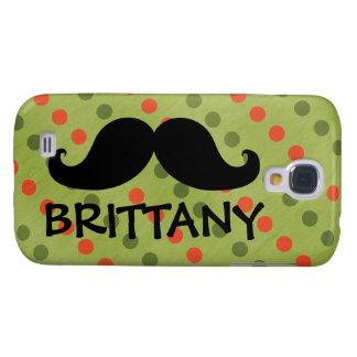 Black Mustache Green Red Polka Dots Name Samsung S4 Case