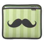 Black mustache green stripes funny iPad sleeve
