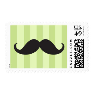 Black mustache green stripes funny postage stamp