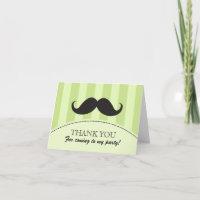 Black mustache green stripes thank you card