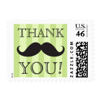 Black mustache green stripes thank you postage