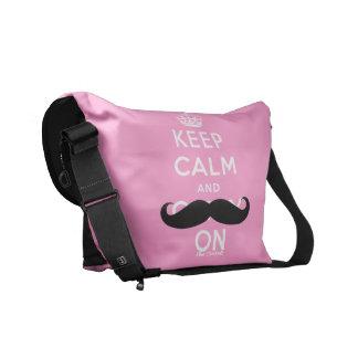 Black Mustache Keep Calm Pink Rickshaw Bags Messenger Bag