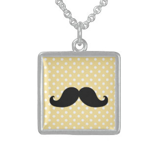 Black Mustache Necklace | Yellow Polka Dots