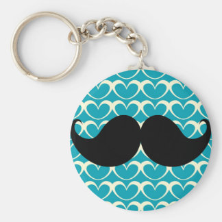 Black Mustache on 70s Retro Background Keychain