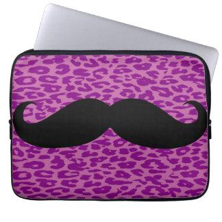Black Mustache on Leopard Print Computer Sleeves