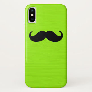Black Mustache on Lime Background iPhone X Case
