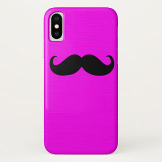 Black Mustache on Pink Background iPhone X Case