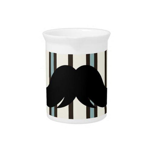 Black Mustache on Striped Pattern Beverage Pitcher