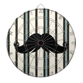 Black Mustache on Striped Pattern Dart Board