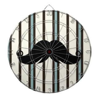 Black Mustache on Striped Pattern Dart Board