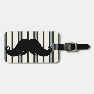 Black Mustache on Striped Pattern Luggage Tag
