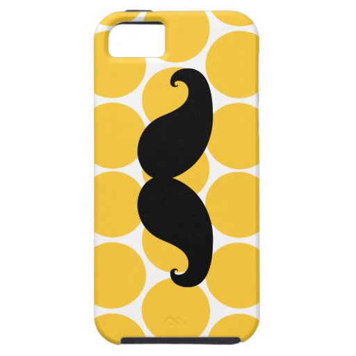 Black Mustache on Yellow Polka Dots iPhone 5 Case
