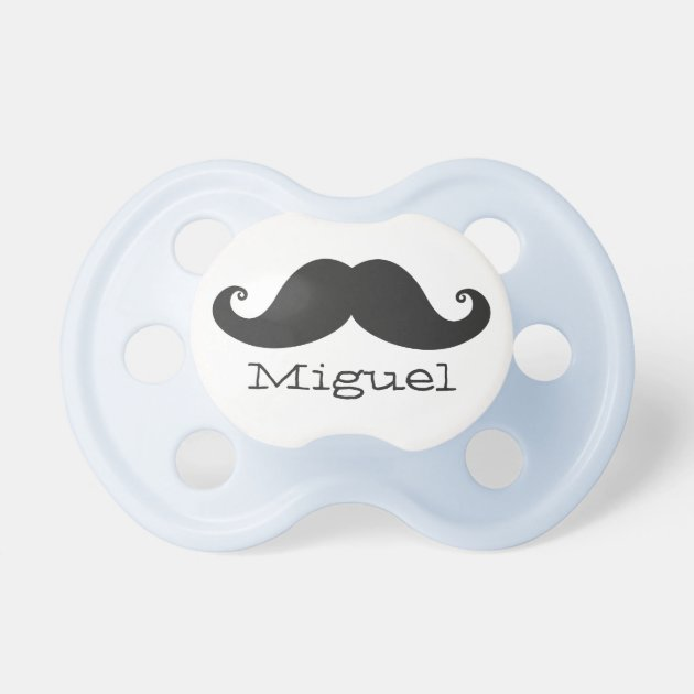Personalized Name Blue Mustache Baby Pacifier