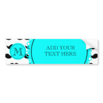 Black Mustache Pattern, Aqua Blue Monogram Bumper Sticker