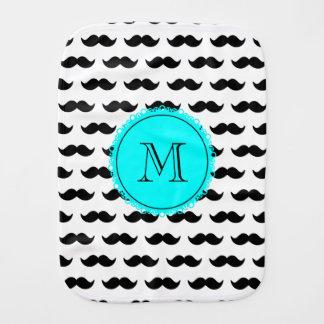 Black Mustache Pattern, Aqua Blue Monogram Burp Cloth