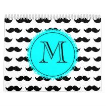 Black Mustache Pattern, Aqua Blue Monogram Calendar