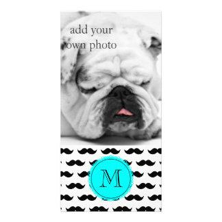 Black Mustache Pattern, Aqua Blue Monogram Card