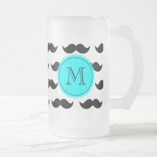 Black Mustache Pattern, Aqua Blue Monogram Frosted Glass Beer Mug