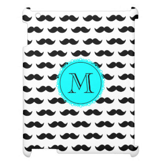 Black Mustache Pattern, Aqua Blue Monogram iPad Case