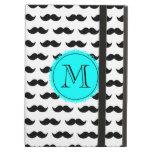 Black Mustache Pattern, Aqua Blue Monogram iPad Case