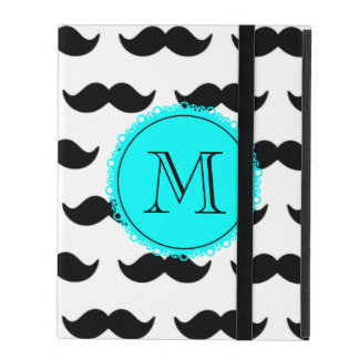 Black Mustache Pattern, Aqua Blue Monogram iPad Folio Case