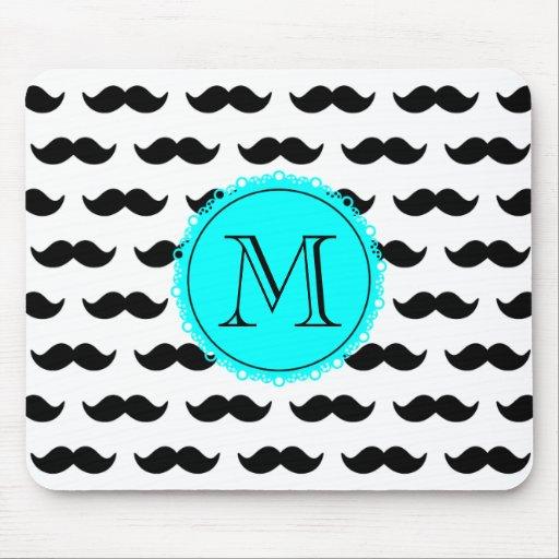 Black Mustache Pattern, Aqua Blue Monogram Mouse Pads