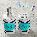 Black Mustache Pattern, Aqua Blue Monogram Bathroom Sets