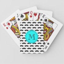 Black Mustache Pattern, Aqua Blue Monogram Playing Cards