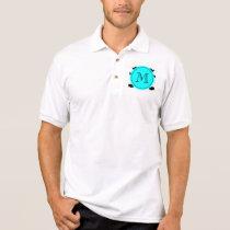 Black Mustache Pattern, Aqua Blue Monogram Polo Shirt