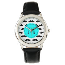 Black Mustache Pattern, Aqua Blue Monogram Wristwatch