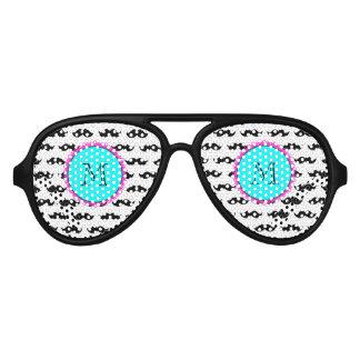 Black Mustache Pattern, Aqua Pink Monogram Aviator Sunglasses