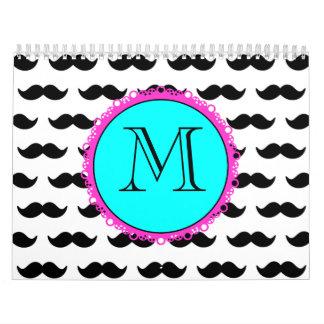 Black Mustache Pattern, Aqua Pink Monogram Wall Calendar