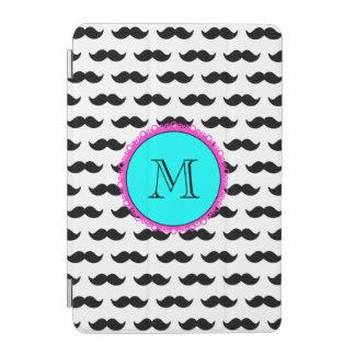 Black Mustache Pattern, Aqua Pink Monogram iPad Mini Cover