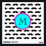 """Black Mustache Pattern, Aqua Pink Monogram Wall Decal<br><div class=""""desc"""">Fun, hipster, girly design with a cute black mustache pattern, on a white background with a bright aqua blue and hot pink circular label or tag and a black monogram in a modern font, you can change to your initial, your monogram, your letter or your text. Graphics By Mimi&#169; Other...</div>"""