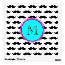 Black Mustache Pattern, Aqua Pink Monogram Wall Decal