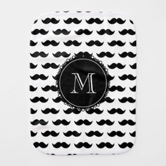 Black Mustache Pattern, Black Monogram Burp Cloth