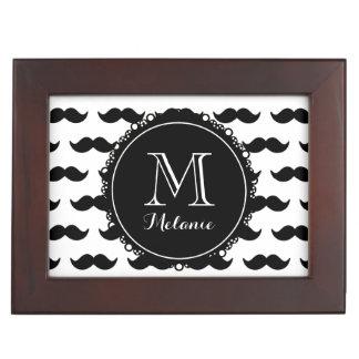Black Mustache Pattern Black Monogram Memory Boxes