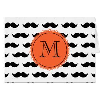 Black Mustache Pattern, Coral Monogram Card