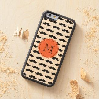 Black Mustache Pattern, Coral Monogram Carved Maple iPhone 6 Bumper Case