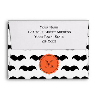 Black Mustache Pattern, Coral Monogram Envelope