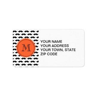 Black Mustache Pattern, Coral Monogram Label