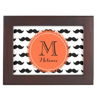 Black Mustache Pattern Coral Monogram Keepsake Box