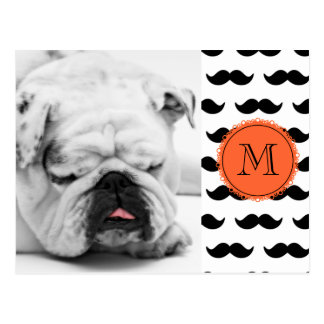 Black Mustache Pattern, Coral Monogram Postcard