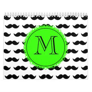 Black Mustache Pattern, Green Monogram Wall Calendars