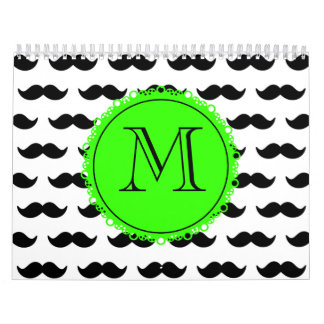 Black Mustache Pattern, Green Monogram Calendar