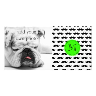 Black Mustache Pattern, Green Monogram Card