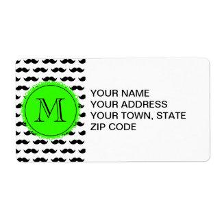 Black Mustache Pattern, Green Monogram Label