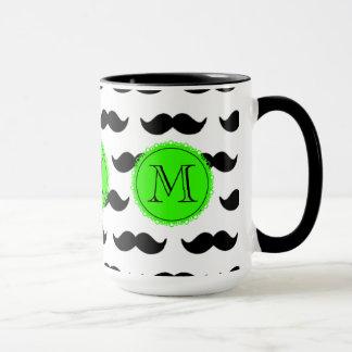 Black Mustache Pattern, Green Monogram Mug