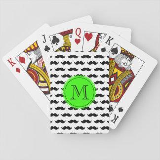 Black Mustache Pattern, Green Monogram Playing Cards