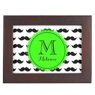 Black Mustache Pattern Green Monogram Keepsake Box